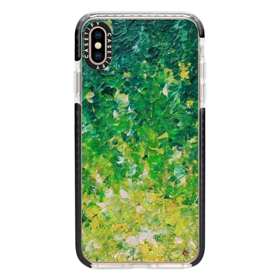 iPhone XS Max Cases - LAKE GRASS - Colorful Grass Kelly Green Citron Lemon Yellow Seaweed Ocean Waves Splash Abstract Ombre Nature Painting