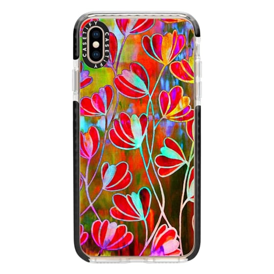 iPhone XS Max Cases - EFFLORESCENCE Technicolor Rainbow Neon Colorful Lime Green Orange Pink Red Aqua Blue Floral Abstract Pattern Watercolor Painting Flowers Art