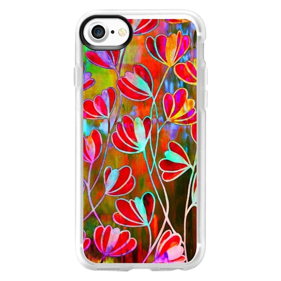 iPhone 7 Cases - EFFLORESCENCE Technicolor Rainbow Neon Colorful Lime Green Orange Pink Red Aqua Blue Floral Abstract Pattern Watercolor Painting Flowers Art