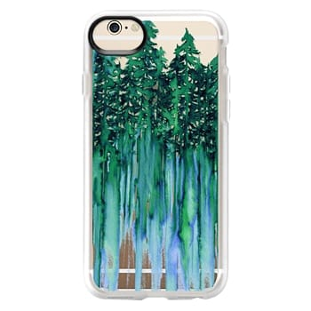 Grip iPhone 6 Case - THROUGH THE TREES, BOLD GREEN AQUA Colorful Forest Nature Wanderlust Boho Outdoors Mountains Watercolor Painting Clear Transparent Ebi Emporium