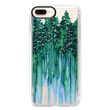 Grip iPhone 8 Plus Case - THROUGH THE TREES, BOLD GREEN AQUA Colorful Forest Nature Wanderlust Boho Outdoors Mountains Watercolor Painting Clear Transparent Ebi Emporium