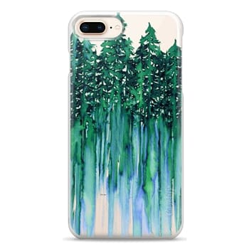 Snap iPhone 8 Plus Case - THROUGH THE TREES, BOLD GREEN AQUA Colorful Forest Nature Wanderlust Boho Outdoors Mountains Watercolor Painting Clear Transparent Ebi Emporium