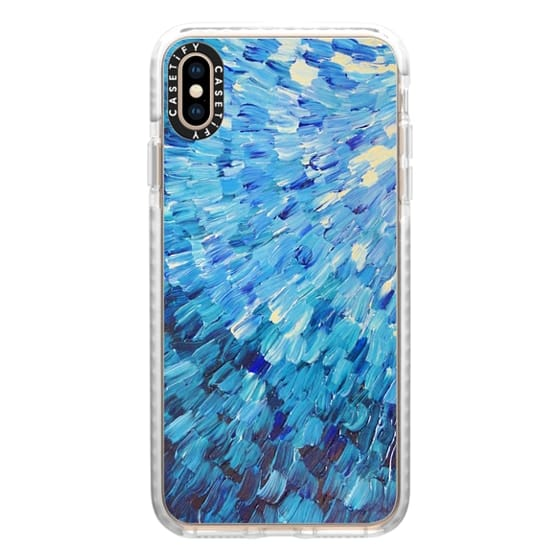 iPhone XS Max Cases - Sea Scales in Indigo - Deep Blue Ocean Waves Splash Abstract Painting