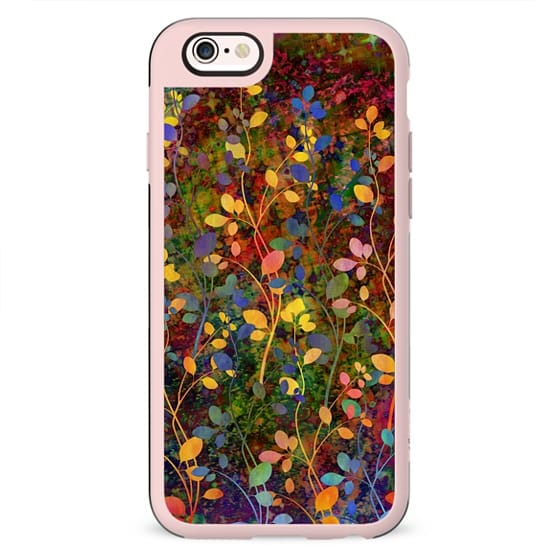 AMONGST THE FLOWERS Rainbow Array - Colorful Abstract Summer Floral Pattern Green Red Blue Yellow Garden Flowers Lovely Girly Nature Fine Art Painting Design