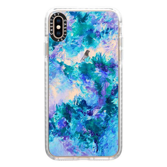 iPhone XS Max Cases - WHEN WE WERE MERMAIDS 6 - Chic Colorful Cool Aqua Turquoise Blue Lavender Purple Ocean Waves Floral Bouquet Bride Bridal Wedding Flowers Coastal Painting