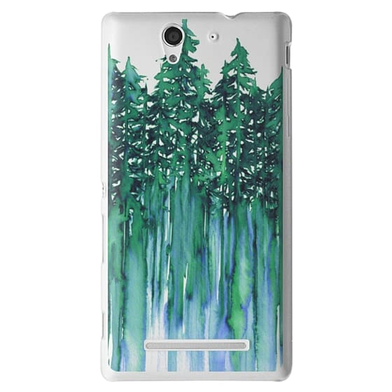 THROUGH THE TREES, BOLD GREEN AQUA Colorful Forest Nature Wanderlust Boho Outdoors Mountains Watercolor Painting Clear Transparent Ebi Emporium