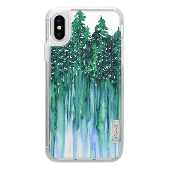 iPhone X Cases - THROUGH THE TREES, BOLD GREEN AQUA Colorful Forest Nature Wanderlust Boho Outdoors Mountains Watercolor Painting Clear Transparent Ebi Emporium