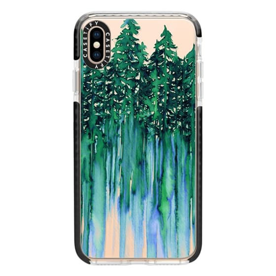 iPhone XS Max Cases - THROUGH THE TREES, BOLD GREEN AQUA Colorful Forest Nature Wanderlust Boho Outdoors Mountains Watercolor Painting Clear Transparent Ebi Emporium