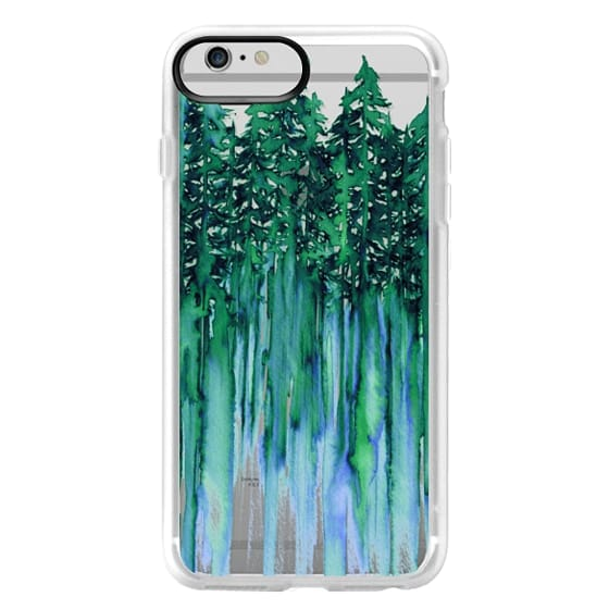 iPhone 6 Plus Cases - THROUGH THE TREES, BOLD GREEN AQUA Colorful Forest Nature Wanderlust Boho Outdoors Mountains Watercolor Painting Clear Transparent Ebi Emporium