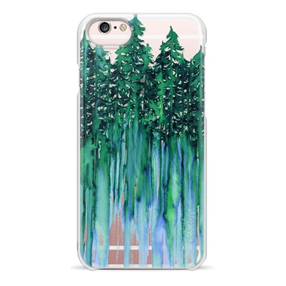 iPhone 6s Cases - THROUGH THE TREES, BOLD GREEN AQUA Colorful Forest Nature Wanderlust Boho Outdoors Mountains Watercolor Painting Clear Transparent Ebi Emporium