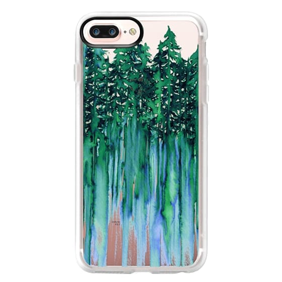 iPhone 7 Plus Cases - THROUGH THE TREES, BOLD GREEN AQUA Colorful Forest Nature Wanderlust Boho Outdoors Mountains Watercolor Painting Clear Transparent Ebi Emporium