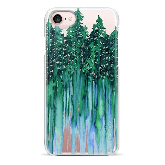 iPhone 7 Cases - THROUGH THE TREES, BOLD GREEN AQUA Colorful Forest Nature Wanderlust Boho Outdoors Mountains Watercolor Painting Clear Transparent Ebi Emporium