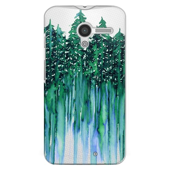 Moto X Cases - THROUGH THE TREES, BOLD GREEN AQUA Colorful Forest Nature Wanderlust Boho Outdoors Mountains Watercolor Painting Clear Transparent Ebi Emporium