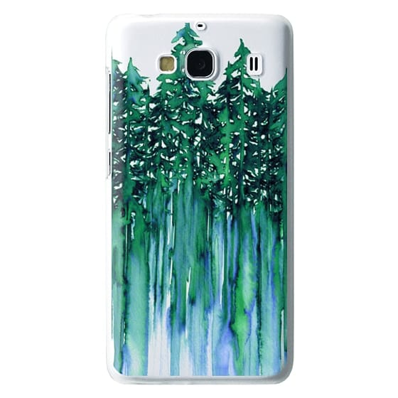 Redmi 2 Cases - THROUGH THE TREES, BOLD GREEN AQUA Colorful Forest Nature Wanderlust Boho Outdoors Mountains Watercolor Painting Clear Transparent Ebi Emporium