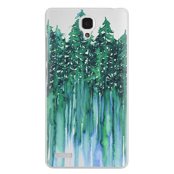 Redmi Note Cases - THROUGH THE TREES, BOLD GREEN AQUA Colorful Forest Nature Wanderlust Boho Outdoors Mountains Watercolor Painting Clear Transparent Ebi Emporium