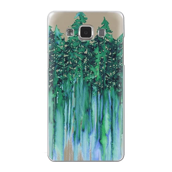 Samsung Galaxy A5 Cases - THROUGH THE TREES, BOLD GREEN AQUA Colorful Forest Nature Wanderlust Boho Outdoors Mountains Watercolor Painting Clear Transparent Ebi Emporium