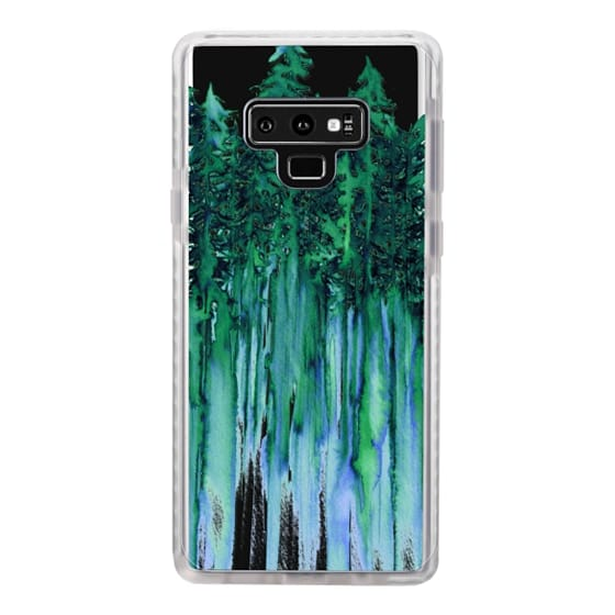 Samsung Galaxy Note 9 Cases - THROUGH THE TREES, BOLD GREEN AQUA Colorful Forest Nature Wanderlust Boho Outdoors Mountains Watercolor Painting Clear Transparent Ebi Emporium