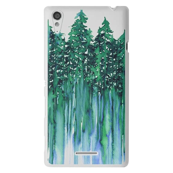 Sony T3 Cases - THROUGH THE TREES, BOLD GREEN AQUA Colorful Forest Nature Wanderlust Boho Outdoors Mountains Watercolor Painting Clear Transparent Ebi Emporium