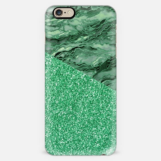 MARBLE IDEA - IRISH EMERALD GREEN FAUX GLITTER Watercolor Abstract Painting Marbled Agate Geode Pattern Chic Girly Ireland Metallic Sparkle Shimmer Glam Modern Trendy Elegant Art Design -