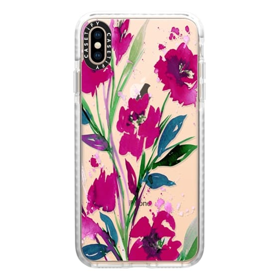 POCKETFUL OF POSIES Magenta Pink Teal Green, Floral Watercolor Painting Flowers Colorful Art Girly Pretty Spring Summer Garden Whimsical Fuchsia Bold Transparent Chic Lovely Design