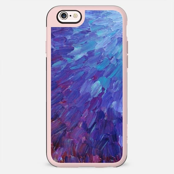 SCALES OF A DIFFERENT COLOR - Bold Deep Violet Aubergine Lavender Periwnke Purple Ombre Ocean Waves Splash Abstract Peacock Feathers Painting