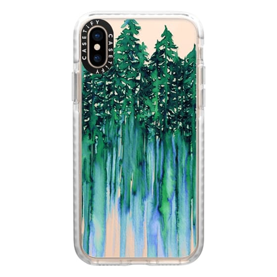 iPhone XS Cases - THROUGH THE TREES, BOLD GREEN AQUA Colorful Forest Nature Wanderlust Boho Outdoors Mountains Watercolor Painting Clear Transparent Ebi Emporium