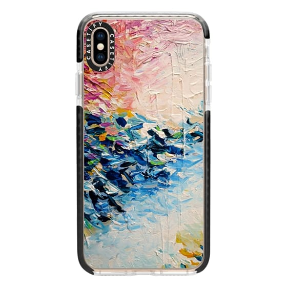 iPhone XS Max Cases - PARADISE DREAMING - Lovely Tropical Island Dreams Whimsical Colorful Bold Rainbow Pastel Abstract Lagoon Nature White Pink Blue Painting