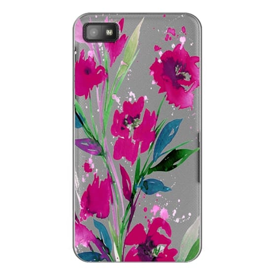 Blackberry Z10 Cases - POCKETFUL OF POSIES Magenta Pink Teal Green, Floral Watercolor Painting Flowers Colorful Art Girly Pretty Spring Summer Garden Whimsical Fuchsia Bold Transparent Chic Lovely Design