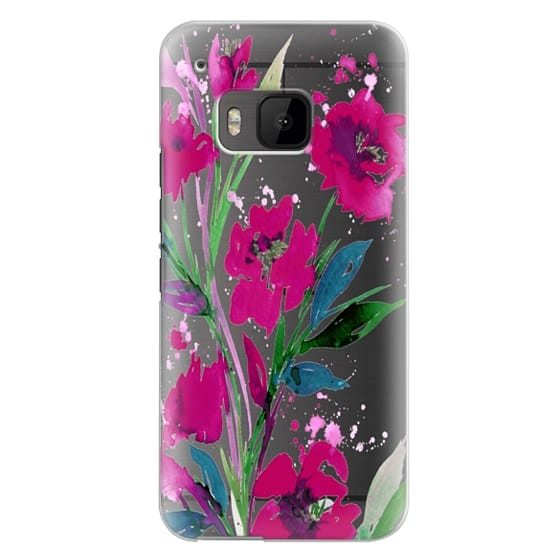 Htc One M9 Cases - POCKETFUL OF POSIES Magenta Pink Teal Green, Floral Watercolor Painting Flowers Colorful Art Girly Pretty Spring Summer Garden Whimsical Fuchsia Bold Transparent Chic Lovely Design