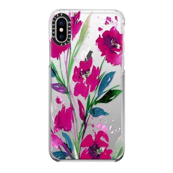 iPhone X Cases - POCKETFUL OF POSIES Magenta Pink Teal Green, Floral Watercolor Painting Flowers Colorful Art Girly Pretty Spring Summer Garden Whimsical Fuchsia Bold Transparent Chic Lovely Design