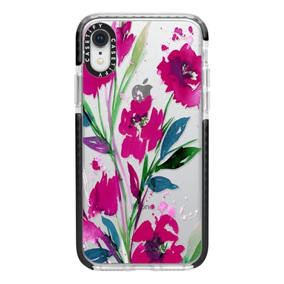 iPhone XR Cases - POCKETFUL OF POSIES Magenta Pink Teal Green, Floral Watercolor Painting Flowers Colorful Art Girly Pretty Spring Summer Garden Whimsical Fuchsia Bold Transparent Chic Lovely Design