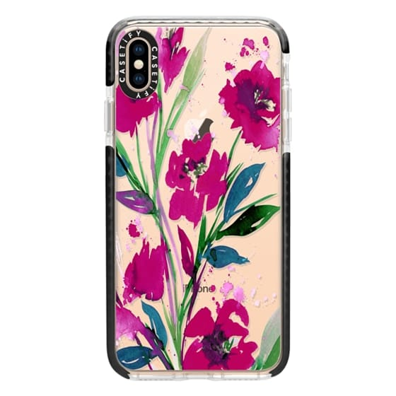 iPhone XS Max Cases - POCKETFUL OF POSIES Magenta Pink Teal Green, Floral Watercolor Painting Flowers Colorful Art Girly Pretty Spring Summer Garden Whimsical Fuchsia Bold Transparent Chic Lovely Design