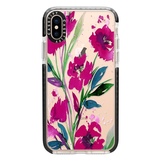 iPhone XS Cases - POCKETFUL OF POSIES Magenta Pink Teal Green, Floral Watercolor Painting Flowers Colorful Art Girly Pretty Spring Summer Garden Whimsical Fuchsia Bold Transparent Chic Lovely Design