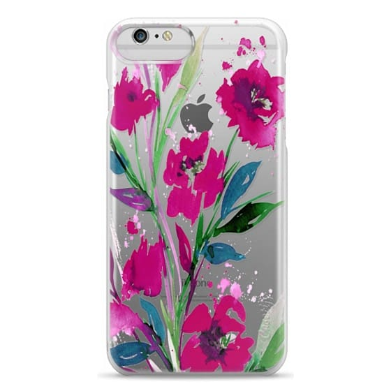 iPhone 6 Plus Cases - POCKETFUL OF POSIES Magenta Pink Teal Green, Floral Watercolor Painting Flowers Colorful Art Girly Pretty Spring Summer Garden Whimsical Fuchsia Bold Transparent Chic Lovely Design
