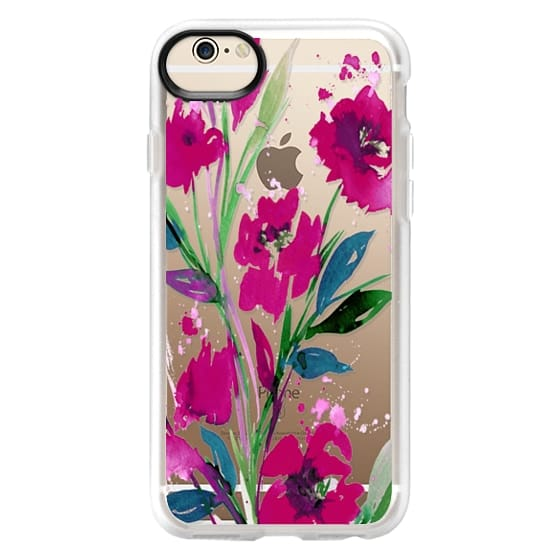 iPhone 6 Cases - POCKETFUL OF POSIES Magenta Pink Teal Green, Floral Watercolor Painting Flowers Colorful Art Girly Pretty Spring Summer Garden Whimsical Fuchsia Bold Transparent Chic Lovely Design