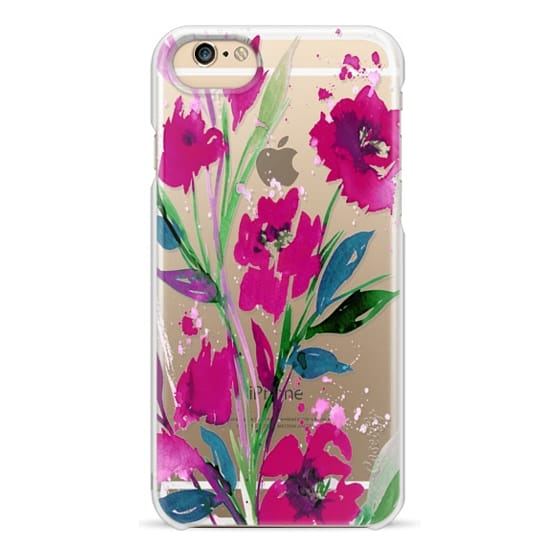 iPhone 4 Cases - POCKETFUL OF POSIES Magenta Pink Teal Green, Floral Watercolor Painting Flowers Colorful Art Girly Pretty Spring Summer Garden Whimsical Fuchsia Bold Transparent Chic Lovely Design