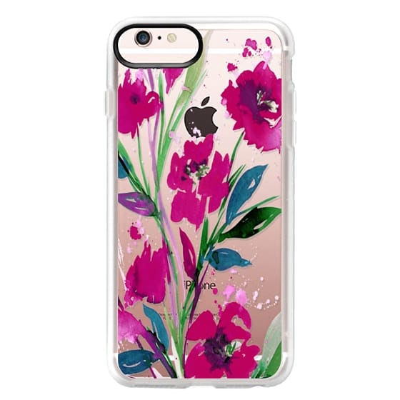 iPhone 6s Plus Cases - POCKETFUL OF POSIES Magenta Pink Teal Green, Floral Watercolor Painting Flowers Colorful Art Girly Pretty Spring Summer Garden Whimsical Fuchsia Bold Transparent Chic Lovely Design