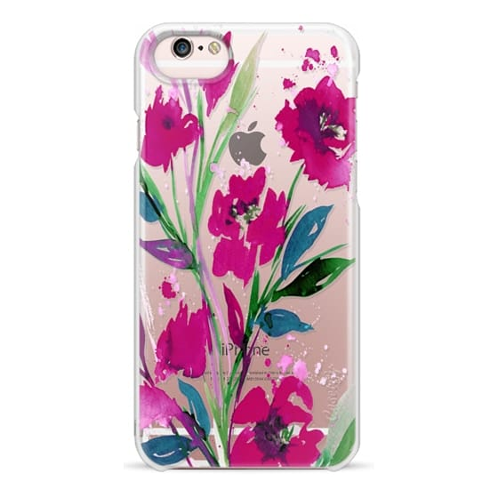 iPhone 6s Cases - POCKETFUL OF POSIES Magenta Pink Teal Green, Floral Watercolor Painting Flowers Colorful Art Girly Pretty Spring Summer Garden Whimsical Fuchsia Bold Transparent Chic Lovely Design
