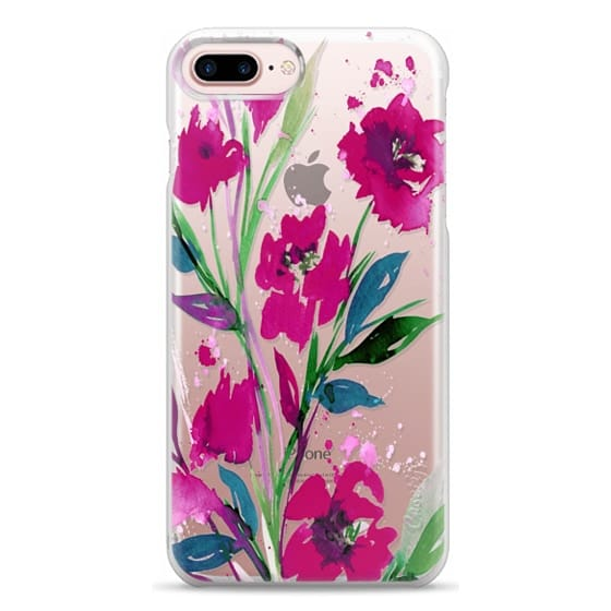 iPhone 7 Plus Cases - POCKETFUL OF POSIES Magenta Pink Teal Green, Floral Watercolor Painting Flowers Colorful Art Girly Pretty Spring Summer Garden Whimsical Fuchsia Bold Transparent Chic Lovely Design
