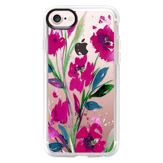 iPhone 7 Cases - POCKETFUL OF POSIES Magenta Pink Teal Green, Floral Watercolor Painting Flowers Colorful Art Girly Pretty Spring Summer Garden Whimsical Fuchsia Bold Transparent Chic Lovely Design