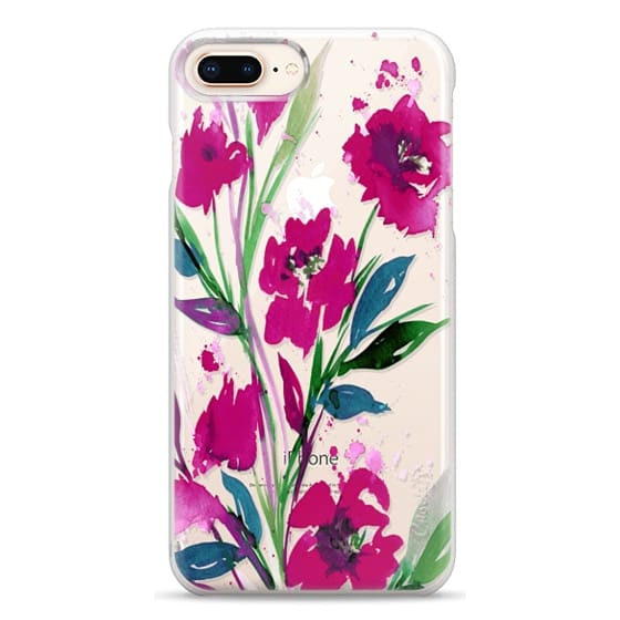 iPhone 8 Plus Cases - POCKETFUL OF POSIES Magenta Pink Teal Green, Floral Watercolor Painting Flowers Colorful Art Girly Pretty Spring Summer Garden Whimsical Fuchsia Bold Transparent Chic Lovely Design