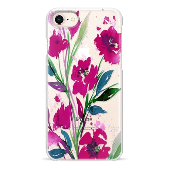 iPhone 8 Cases - POCKETFUL OF POSIES Magenta Pink Teal Green, Floral Watercolor Painting Flowers Colorful Art Girly Pretty Spring Summer Garden Whimsical Fuchsia Bold Transparent Chic Lovely Design