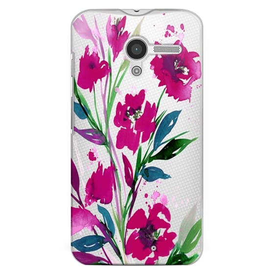 Moto X Cases - POCKETFUL OF POSIES Magenta Pink Teal Green, Floral Watercolor Painting Flowers Colorful Art Girly Pretty Spring Summer Garden Whimsical Fuchsia Bold Transparent Chic Lovely Design