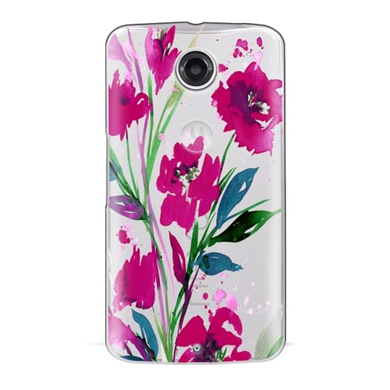Nexus 6 Cases - POCKETFUL OF POSIES Magenta Pink Teal Green, Floral Watercolor Painting Flowers Colorful Art Girly Pretty Spring Summer Garden Whimsical Fuchsia Bold Transparent Chic Lovely Design