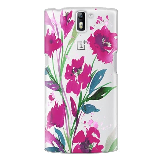 One Plus One Cases - POCKETFUL OF POSIES Magenta Pink Teal Green, Floral Watercolor Painting Flowers Colorful Art Girly Pretty Spring Summer Garden Whimsical Fuchsia Bold Transparent Chic Lovely Design