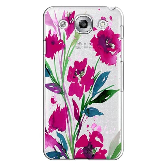 Optimus G Pro Cases - POCKETFUL OF POSIES Magenta Pink Teal Green, Floral Watercolor Painting Flowers Colorful Art Girly Pretty Spring Summer Garden Whimsical Fuchsia Bold Transparent Chic Lovely Design