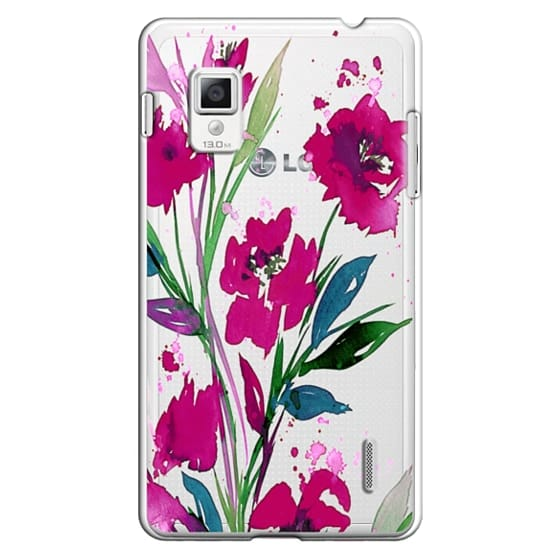 Optimus G Cases - POCKETFUL OF POSIES Magenta Pink Teal Green, Floral Watercolor Painting Flowers Colorful Art Girly Pretty Spring Summer Garden Whimsical Fuchsia Bold Transparent Chic Lovely Design