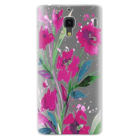 Redmi 1s Cases - POCKETFUL OF POSIES Magenta Pink Teal Green, Floral Watercolor Painting Flowers Colorful Art Girly Pretty Spring Summer Garden Whimsical Fuchsia Bold Transparent Chic Lovely Design