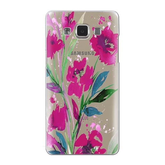 Samsung Galaxy A5 Cases - POCKETFUL OF POSIES Magenta Pink Teal Green, Floral Watercolor Painting Flowers Colorful Art Girly Pretty Spring Summer Garden Whimsical Fuchsia Bold Transparent Chic Lovely Design