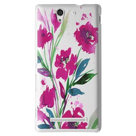 Sony C3 Cases - POCKETFUL OF POSIES Magenta Pink Teal Green, Floral Watercolor Painting Flowers Colorful Art Girly Pretty Spring Summer Garden Whimsical Fuchsia Bold Transparent Chic Lovely Design